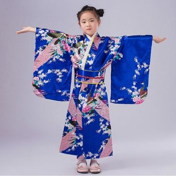 New Design Japanese Girl Kimono Dress Elegant Flower Kid Girl Dance Costumes Children Vintage Yukata 120-150cm