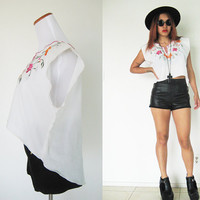 Vintage 70's upcycle embroidered floral flower native ethnic tribal mexican hi low reproduction cropped summer top hippie boho bohemian