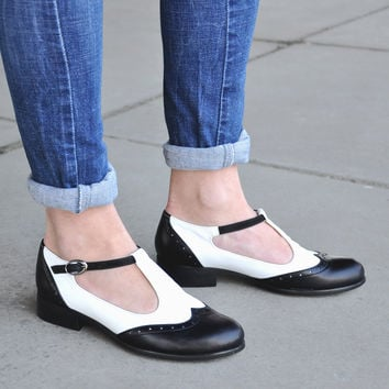Janis - Women's Mary Janes, Leather Mary Janes, Vintage Shoes, Black and White Mary Jane shoes, Custom Shoes, FREE customization!!!