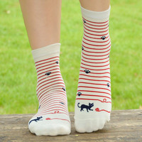 Striped Playful Cat Socks