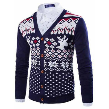 New 2017 spring/autumn mens cardigan sweater henley knitwear men with deer striped sweater men casual thin cardigan M-XXL