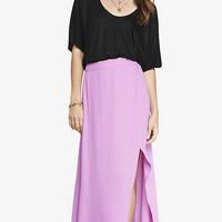 HIGH WAISTED WRAP MAXI SKIRT - MAGENTA from EXPRESS