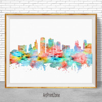 Kansas City Art Kansas City Print, Kansas City Skyline, Kansas City Missouri, Office Art, Watercolor Skyline, City Prints, ArtPrintZone
