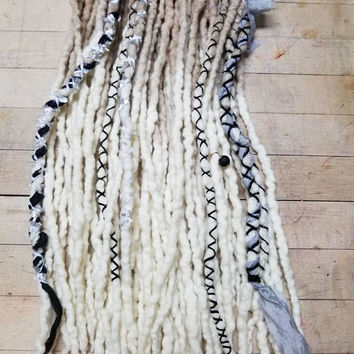 Wool Dreads  Hair Extensions Wool Dreadlocks Bohemian  Accessories Set of 20