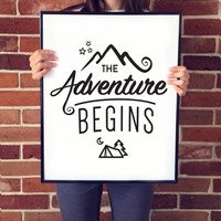 The Adventure Begins Poster, Typography Print, Quote Wall Art, Journey Poster, Travel Poster, Scandinavian Art, Minimalist.
