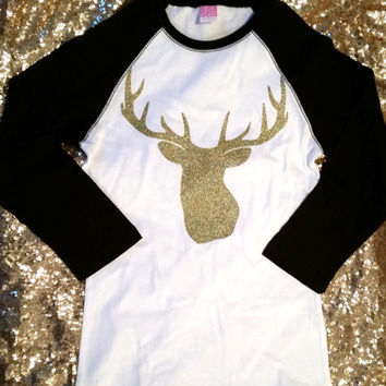 Glitter Deer Head Baseball Tee ~ Raglan ~ Gold Sparkle