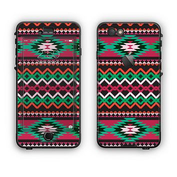 The Vector Green & Pink Aztec Pattern Apple iPhone 6 Plus LifeProof Nuud Case Skin Set