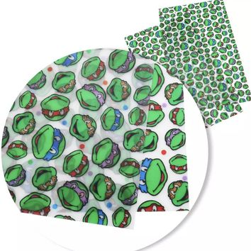 Transparent TMNT Teenage Mutant Ninja Turtles vinyl faux leather fabric sheet