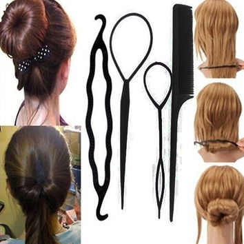 2015 Most Popular Women's 4Pcs Hair Twist Styling Clip Stick Bun Maker Braid Tool Hair Accessories  8CSD