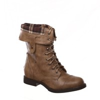 New! Military Combat Boot Fold-over Cuff + Zipper on the Back Multiple Color,Chess-3 Natural 9