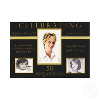 50th Birthday Party Tri Photo Invitations from Zazzle.com