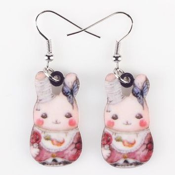 Drop Rabbit Earrings Acrylic Pattern Long Danlge Earrings Charm Animal New Fashion Jewelry For Women Accessories