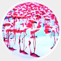 Flamingo Round Beach Terry Towel