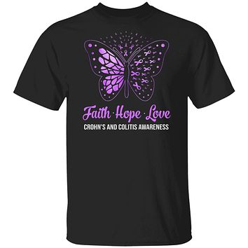 Faith Hope Love Purple Butterfly Crohn's Colitis Awareness