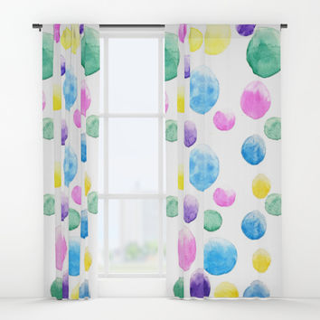 cheerful colorful bubbles Window Curtains by Color And Color