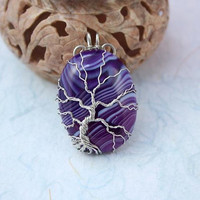 Purple veins agate silver-plated wire-wrapped Tree of Life pendant