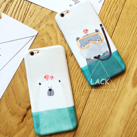 Cute Cartoon Case For iphone 6 Case For iphone 6S 6 Plus Back Cover Diving Animal White Polar Bear Hippo Horse Phone Cases Capa