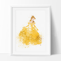 Disney Princess,Belle Beauty and the Beast,Wall Art, Disney Art, Watercolor Art Print, Disney Poster, Kids Decor, Nursery Decor (275)