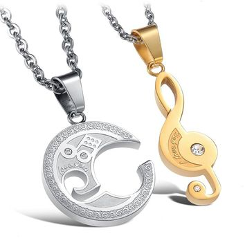 Crystal Music Note Couple Necklace For Lover Stainless Steel Interlocking Puzzle Pendant Jewelry