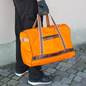 USSR Boxing Duffle Bag / Soviet Vintage РИНГ - Boxing Ring Russian Caption Orange Sports, Gym Bag / Weekend / Overnight Bag