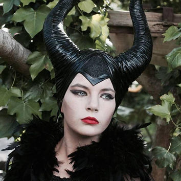 Deluxe Authentic Maleficent Black Horns ~ Headdress ~ Costume ~ CosPlay ~ Steampunk ~ Book Week ~ Gothic