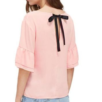 V Notch Tie Back Chiffon Blouse Pink Cute Tops 2017 Women Layered Bell Sleeve Summer Tops Solid Elegant Tunic Blouse