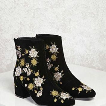ONETOW Velvet Floral Ankle Boots