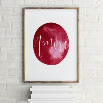 "Inspirational poster ""Amore"" Love quote Gift idea Motivational quote Instant download Typographic print Wall art Home decor Love poster"