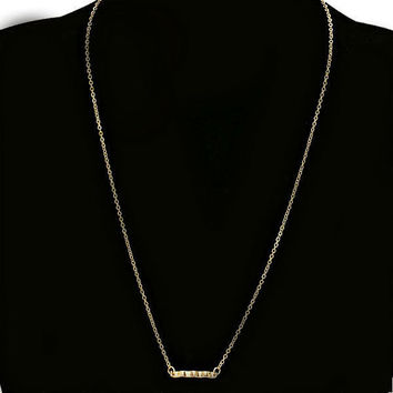 Dainty Tiny Thin Gold Hammered Bar Pendant Layering Necklace