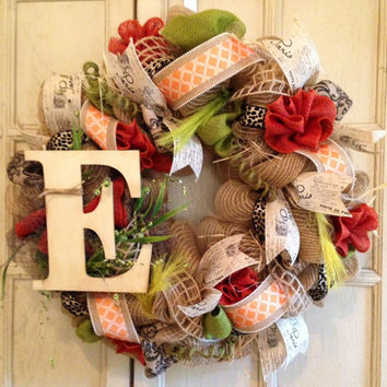 Decorative Monogram Fall Wreath, Fall Jute Burlap Wreath, Fall Burlap Floral Wreath, Housewarming Gift, Wedding Gift, Fall Wreath