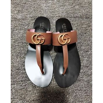 GUCCI Hot Sale Women Men Casual Sandals Slippers Shoes Couple Flip-Flops Brown