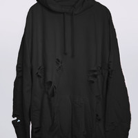 Charcoal Hand Distressed Oversized Hoodie