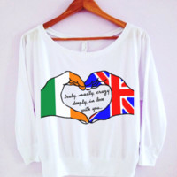 "One Direction ""Truly, Madly, Deeply"" Hand Art Wide-neck Shirt"