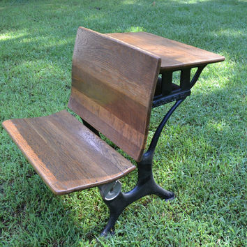 Vintage E.W.A. Rowles Co. Childs School Desk with Chair Cast Iron and Wood PanchosPorch