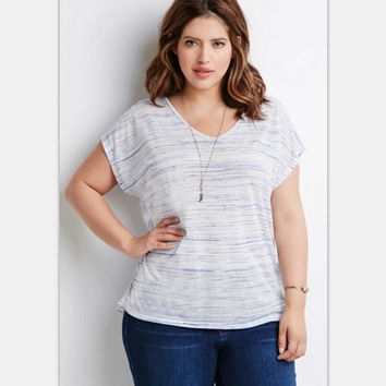 White Plus Size Printed Short Sleeve T-Shirt