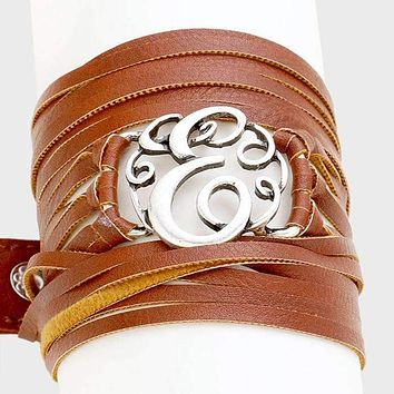 E Monogram Faux Leather Wrap Bracelet