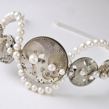 steampunk wedding headband OOAK - vintage watch parts ivory freshwater pearl side tiara silver