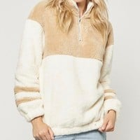 Two Tone Sherpa Half-Zip Pullover - Ivory/Taupe