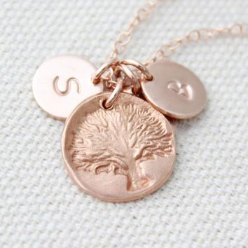 Rose Gold Tree Charm Necklace, Personalized Initial Necklace, Gift For Mom, Tree Of Life Pendant, Family Tree, Rose Gold Jewelry