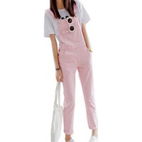 Brief Solid Women Jumpsuits Slim Moveable Strap Rompers Casual Big Pocket Denim Overalls Fashion Candy Color Jean Jumpsuit XS-XL