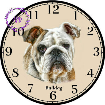 """Tan & White Bulldog Art - -DIY Digital Collage - 12.5"""" DIA for 12"""" Clock Face Art - Crafts Projects"""