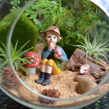 "Little Elf Terrarium Kit ~ 7"" Glass Terrarium ~ 2 Air Plants ~ 4 Pixie Characters to choose from ~ Each holding Animal ~ Sand choice ~ Gift"