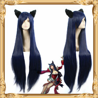 League of Legends Ahri Dark Blue Wig, Cosplay Wig + Plush Fox Ear + Wig Cap