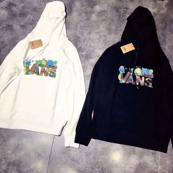 ONETOW Vans Fashion Print Hooded Top Sweater Pullover Sweatshirt