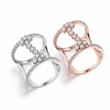 Women Delicate Ring Paved Cubic Zircon Ideal Wedding Engagement White/Rose Gold
