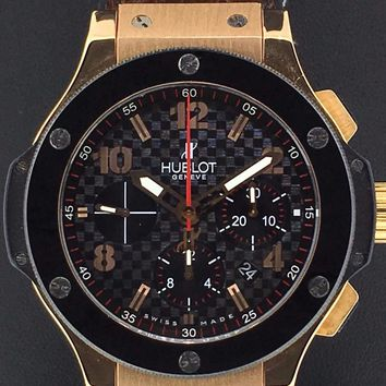 Hublot Big Bang 44mm Chronograph Rose Gold & Ceramic Leather Strap 301.PB.131.RX