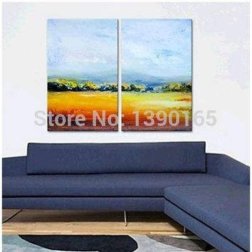 Landscape Nature Scenery Farmland Handpainted Modern Oil Painting On Canvas Wall Art Gift,Top Home Decoration ahh66