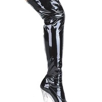 Women's 6 Inch Pointed Stiletto Heel Thigh High Stretch Boots (9,Black/Clear)