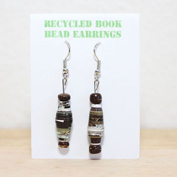 Paper Bead Recycled Earrings, Handmade Recycled Book Bead Earrings, Norman Rockwell Art Book