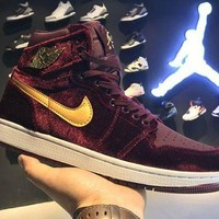DCCKL8A Jacklish Air Jordan 1 Retro High Premium Red Velvet Night Maroon/metallic Gold 2016